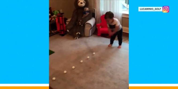 Watch: Toddler has 1 incredible golf swing