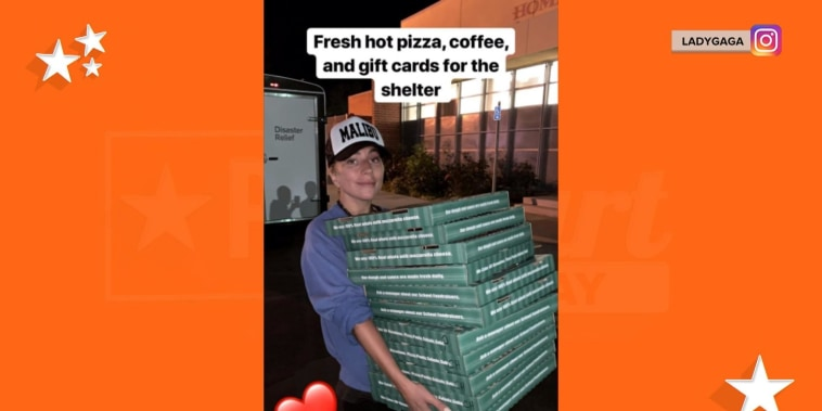 Lady Gaga delivers pizza to evacuation center amid California wildfires