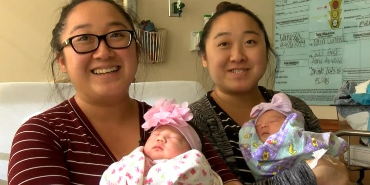 Twin sisters have baby girls on the same day