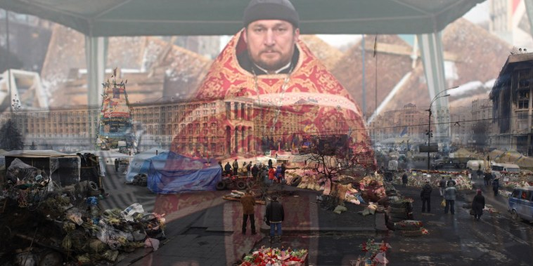 """An Orthodox priest, photographed Dec. 6, 2013, is blended with an image from Maidan, photographed on Feb. 26, 2014. Maidan is the centre of Kiev and in English, means \""""Independence Square.\"""" Here, ever since Ukrainian Independence in 1991, people have come out to protest, to gather, to shop and to voice their pleasure or displeasure. Maidan was the scene of the largest protest gathering in 2004, the Orange Revolution when hundreds of thousands of protestors turned out to protest against corrupt and illegal elections shenanigans by Viktor Yanukovich and his Party of Regions. Almost 10 years later, people would flood Maidan and protest Yanukovich again for his last minute cancellation of a European trade deal in favor of a Russian deal. EuroMaidan was born."""