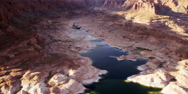 An area that would be under water if the lake was full is seen in Lake Powell near Page, Ariz., May 26, 2015. Lake Powell on the Colorado River provides water for Nevada, Arizona and California. (Photo by Rick Wilking/Reuters)