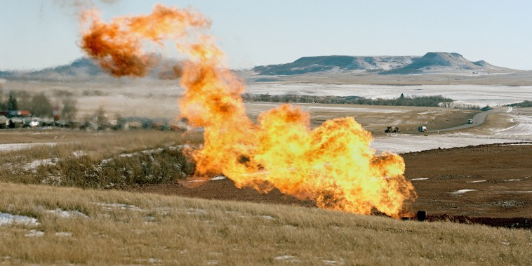 Flaring near the Blue Buttes, Jan. 2015. (Photo by Sarah Christianson)