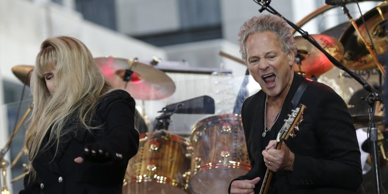 Image: Members of the rock band Fleetwood Mac Lindsey Buckingham and Stevie Nicks perform during a concert by the band on NBC's 'Today' show in New York City