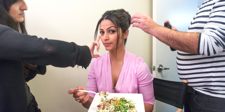 Camila Alves eats her favorite breakfast: scrambled egg whites with bacon, green olives and spinach