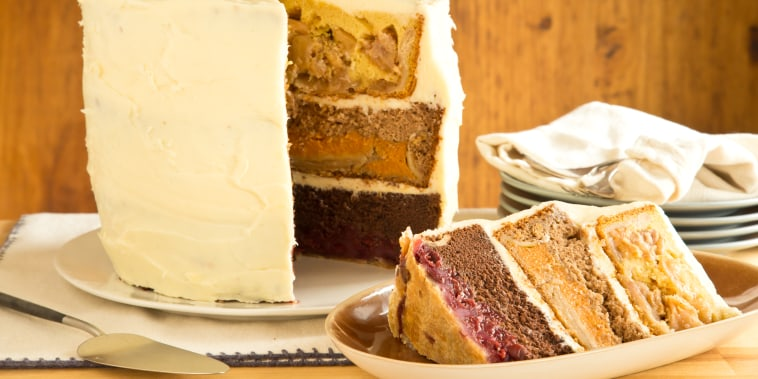 The Cherpumple is a towering six-layer dessert made with cherry pie, pumpkin pie, apple pie, chocolate cake, yellow cake and spice cake