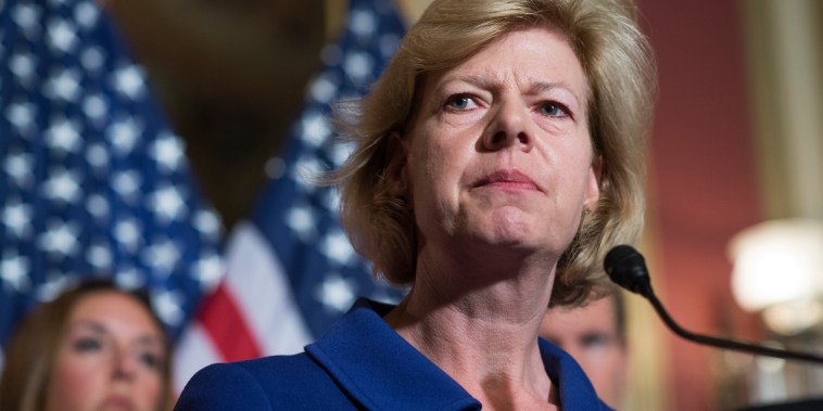 Sen. Tammy Baldwin, D-Wis., speaks during a news conference in the Capitol on Democratic on gun control measures, June 16, 2016. Baldwin co-authored a letter on Monday urging the FDA to reconsider a policy restricting gay men from donating blood.