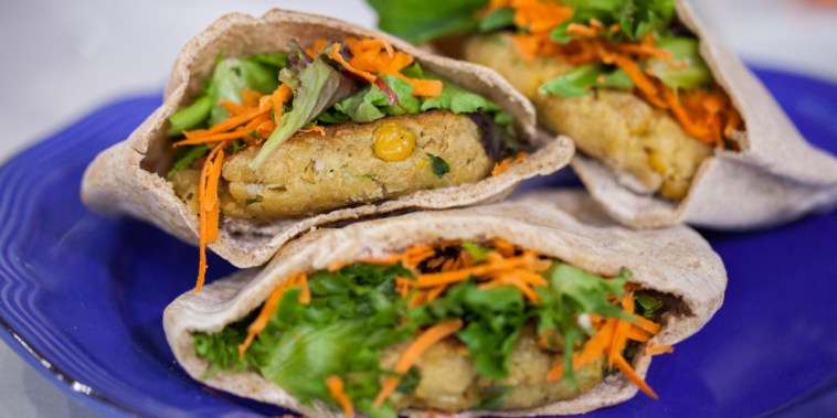 Chickpea burgers in pita pockets