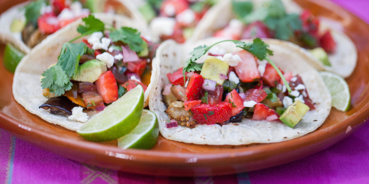 Roasted veggie tacos with strawberry salsa