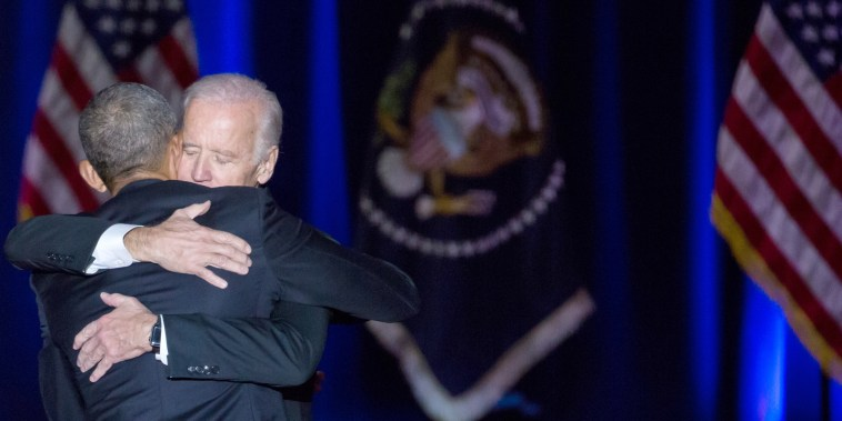 Image: On Tuesday, Jan. 10, U.S. Obama and Biden hug, after Obama delivered his farewell address to the American people at McCormick Place in Chicago.