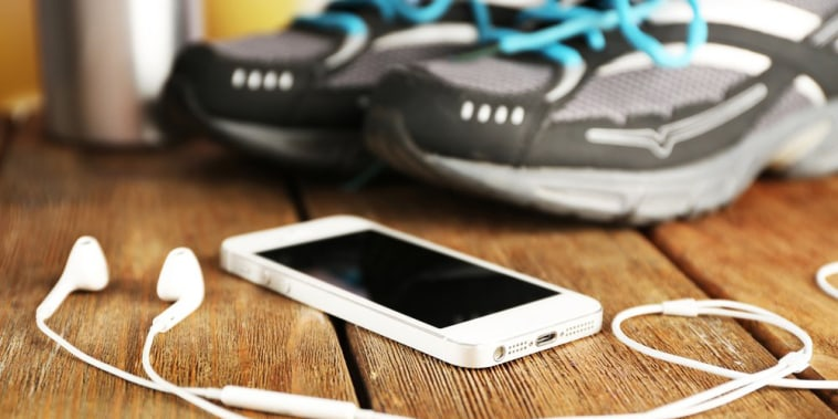 Image: Workout sneakers and phone