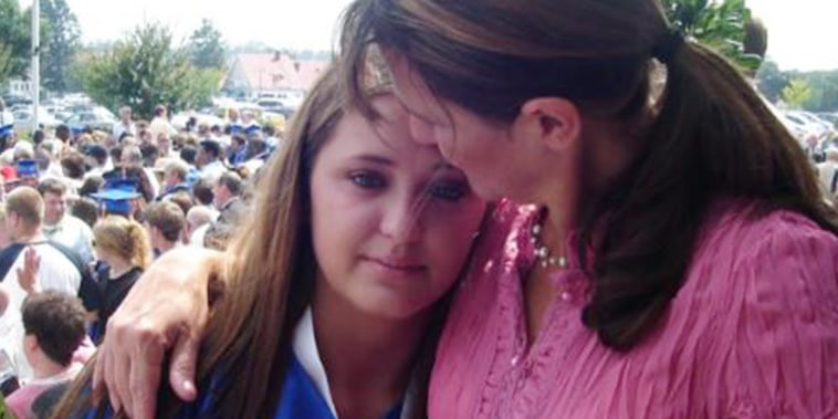 Nadine Murray with her daughter Janis at graduation. Janis committed suicide ten years ago, at age 19.