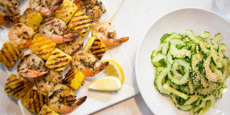 CAMILA ALVES: Camila Alves Grilled Garlic Lemon Shrimp with Pineapple + Japanese Cucumber Salad