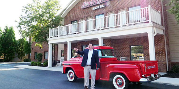 """""""I truly believe this place will be packed,"""" said George Thacker, owner of the Howard Johnson motel. Its property line is made of bricks from some of the closed garment factories that used to stand in its footprint."""