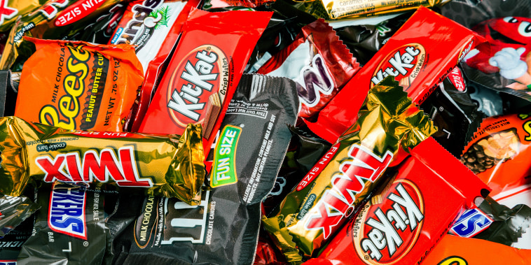 An assortment of wrapped halloween candy