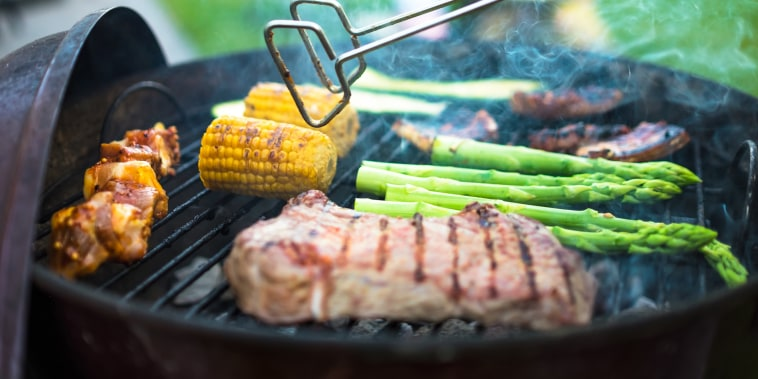 Meat And Vegetables On Barbecue Grill