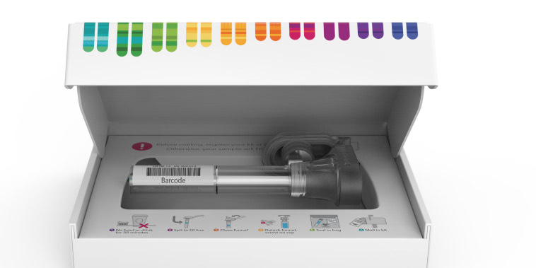 This image released by 23andMe shows the company's home-based saliva collection kit.