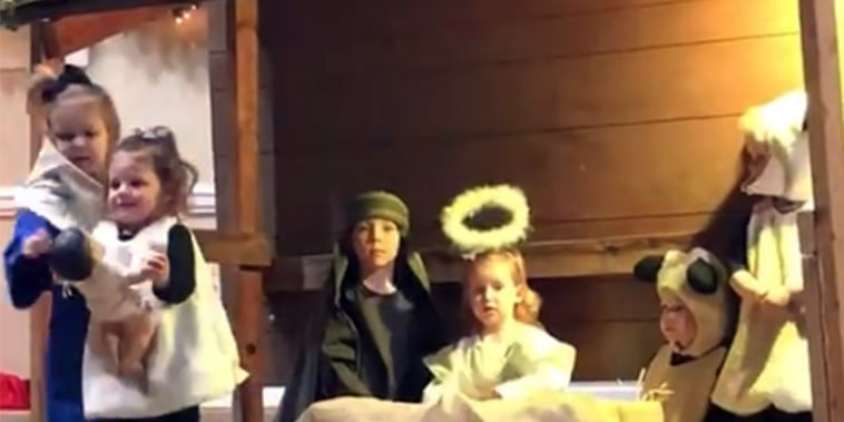 2-yo sheep stole the Baby Jesus and forced a 3-yo Mary to take action!