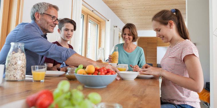 Image: Family having breakfast at home