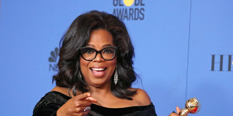 Image: FILE PHOTO: Oprah Winfrey with her Cecil B. DeMille Award at the 75th Golden Globe Awards in Beverly Hills