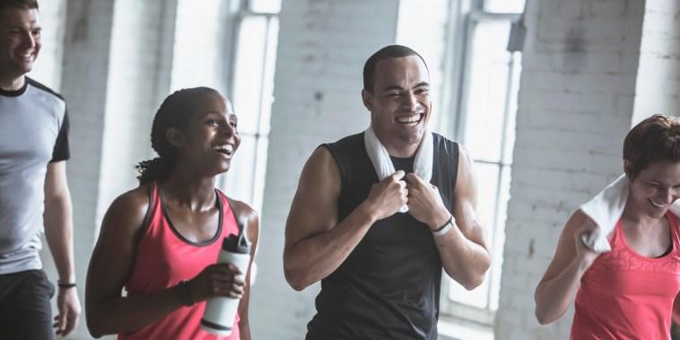 Image: Athletes talking in gym