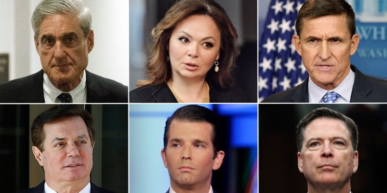 Image: Vladimir Putin, Jeff Sessions, Donald Trump, Robert Mueller, Natalia Veselnitskaya, Michael Flynn, Paul Manafort, Donald Trump Jr., James Comey