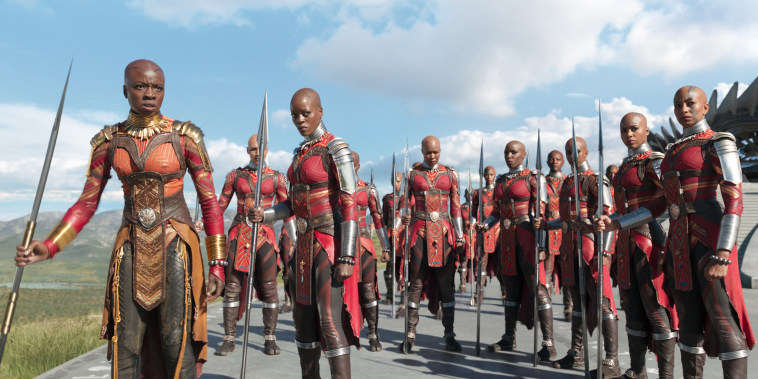 "Image: Danai Gurira as Okoye, left, and Florence Kasumba as Ayo with the Dora Milaje in ""Black Panther"""