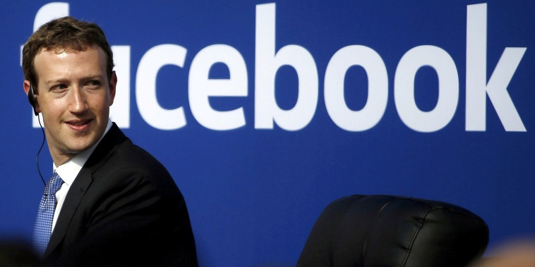 Image: Facebook CEO Zuckerberg during a town hall at Facebook's headquarters in Menlo Park,