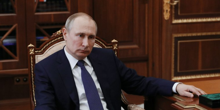 Image: Vladimir Putin in Moscow on Monday as sanctions took hold.