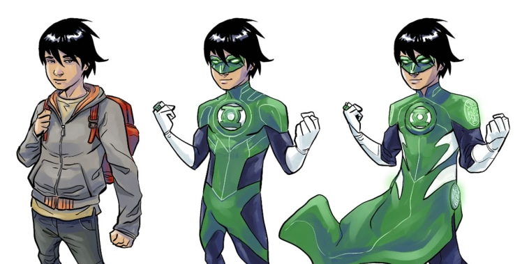 """Image: Sketches of Tai, a character in the upcoming """"Green Lantern: Legacy,"""" written by Minh Le."""