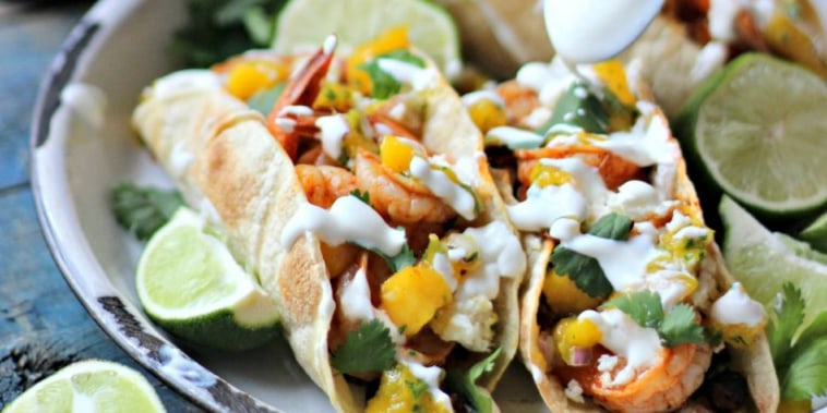 Smokey Shrimp Tacos with Chorizo Beans and Mango Salsa