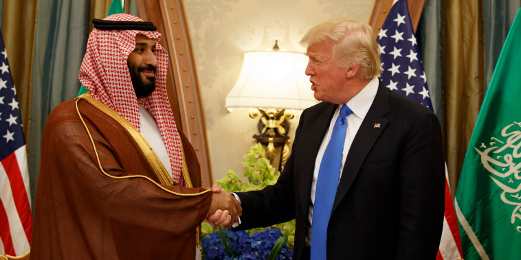 Image: President Donald Trump shakes hands with Saudi Deputy Crown Prince and Defense Minister Mohammed bin Salman in Riyadh