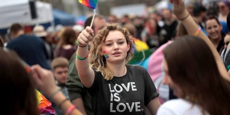 Image: Residents and visitors attend the first Columbus Pride Festival on April 14, 2018 in Columbus, Indiana.