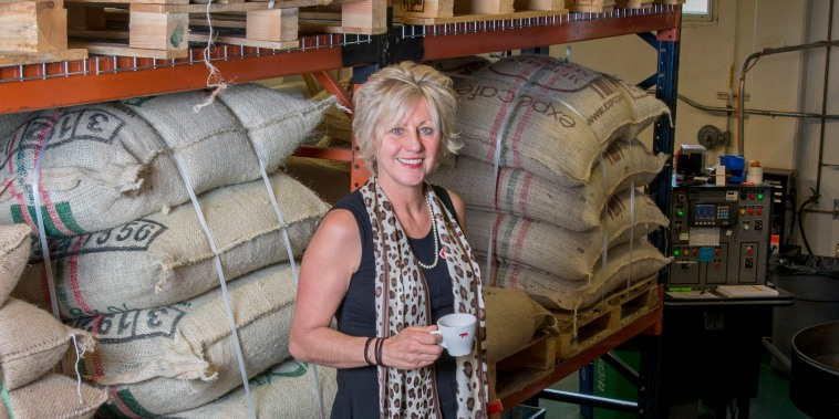 Helen Russell at the California-based specialty coffee company she founded, Equator Coffees and Teas, in San Rafael, California.