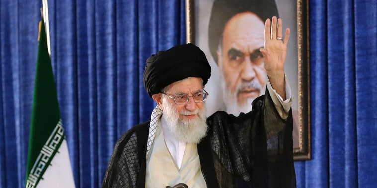 Image: Ayatollah Ali Khamenei greets the crowd