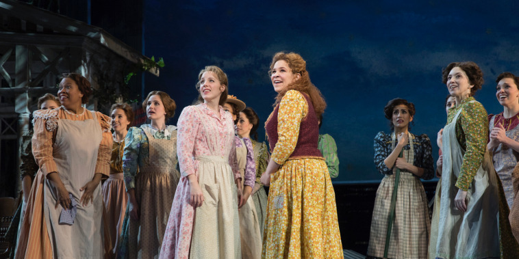 Jessie Mueller, Lindsay Mendez, at right, and the cast of Broadway's 'Carousel.'