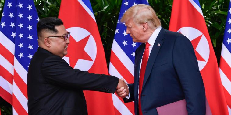 Image: North Korea leader Kim Jong Un and U.S. President Donald Trump shake hands
