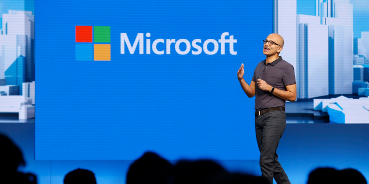 Image: Microsoft CEO Satya Nadella delivers the keynote address during the Microsoft Build 2016 Developers Conference in San Francisco