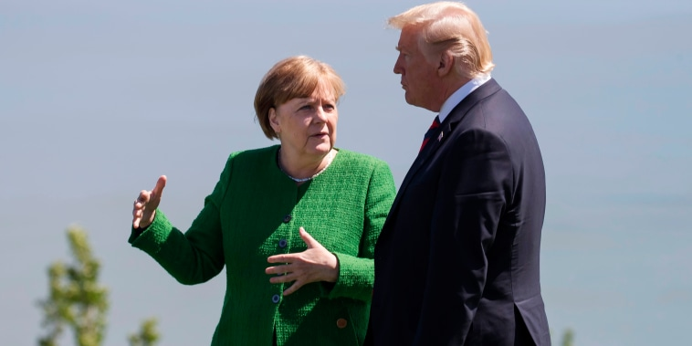 Image: Merkel and Trump at the G7 summit