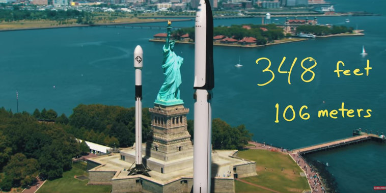 A still from a Corridor Crew video shows the relative sizes of SpaceX rockets and the Statue of Liberty.