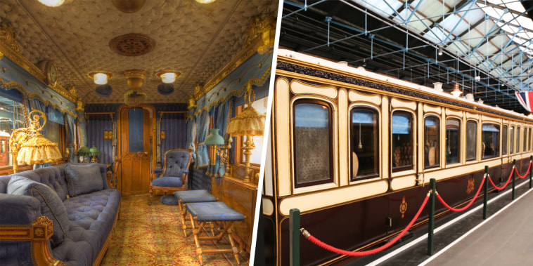 One of Queen Victoria's lavish carriages in the royal train