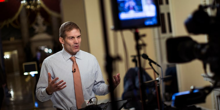 Image:  Rep. Jim Jordan, R-Ohio, speaks during a live television broadcast on Capitol Hill