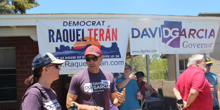 Candidate David Garcia at a canvassing event in Arizona.