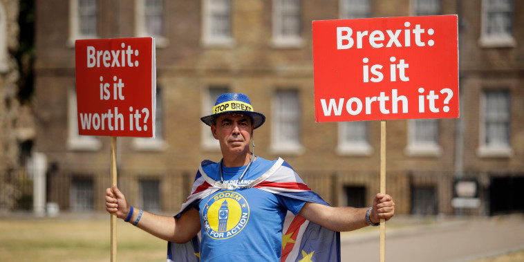 Image: Anti-Brexit protester Steve Bray outside the Houses of Parliament.