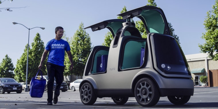 Image: Kroger Co. and Nuro's unmanned delivery vehicle is seen in this photo provided by Kroger in California