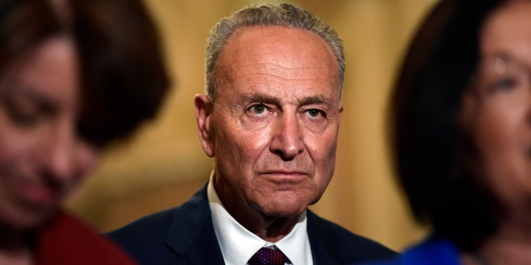 Image: Schumer waits to speak to reporters on Capitol Hill