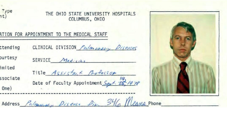 An Ohio State University 1978 employment application information for Dr. Richard Strauss