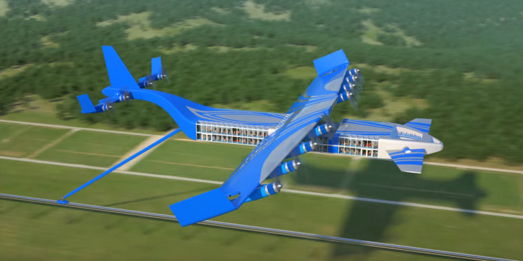 Image: Dihar Semenov's flying combo of jumbo jet and monorail train