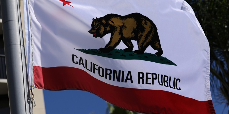Image: The state flag of California flies in San Diego