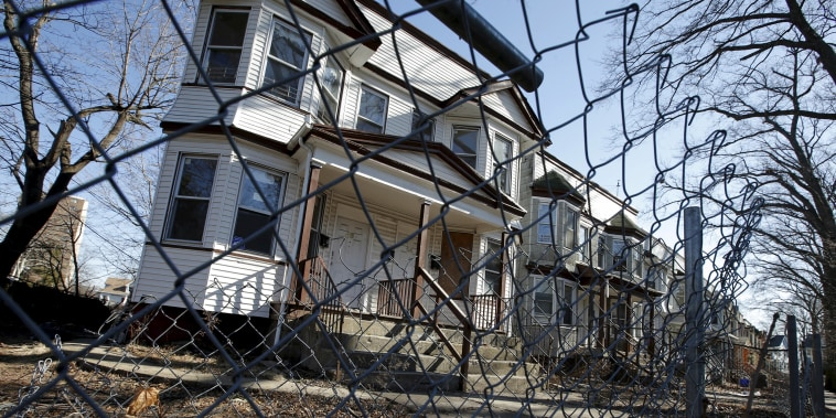 Row of abandoned homes is seen in East Orange, New Jersey