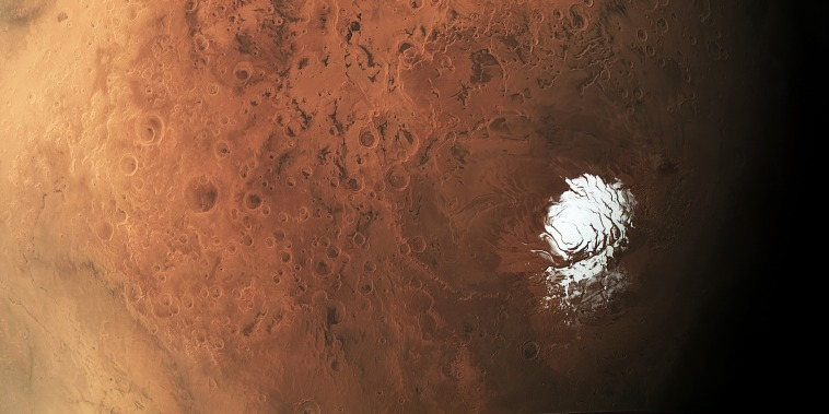 Mars' south polar ice cap in an image captured the European Space Agency's Mars Express spacecraft. Italian researchers believe a reservoir lies below ice about a mile thick in an area close to the planet's south pole.